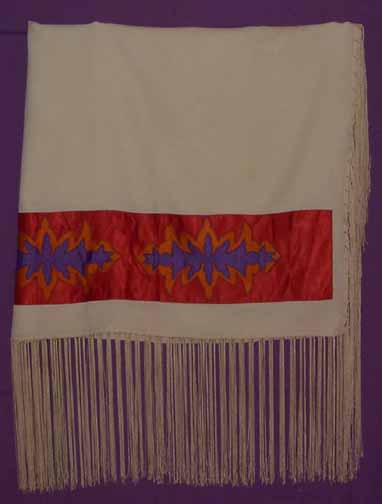 Adult Fringed Shawl Appligued